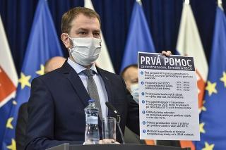 Predseda vlády SR Igor Matovič predstavuje tzv. prvú pomoc zamestnancom, živnostníkom a firmám.