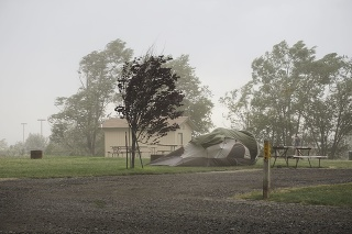 high winds in a dust storm at a campground destroying a tent