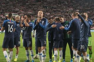 Na snímke radosť slovenských futbalistov po víťazstve 2:1 v zápase kvalifikácie EURO 2020 vo futbale v E-skupine Maďarsko – Slovensko v Budapešti.