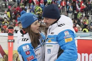 Slovenská lyžiarka Petra Vlhová a jej otec Igor Vlha.