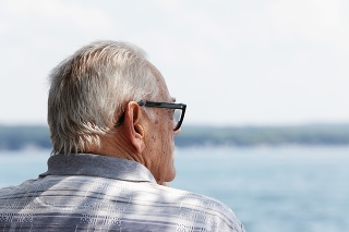 Rear quarter view of a senior man sitting alone under a shady tree on a sunny day gazing toward the lake.