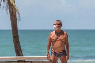 Recife, Pernambuco, Brazil - April 04, 2020:Senior man wearing mask protection against Covid- 19