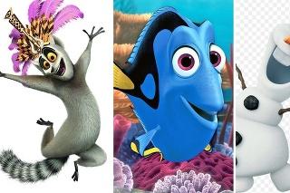 Julien, Dory či Olaf sú obľúbené animované postavičky.