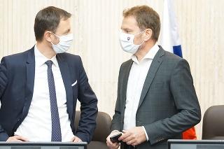 Minister financií SR Eduard Heger a predseda vlády SR Igor Matovič