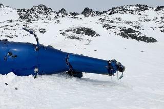 Miesto havárie vrtuľníka neďaleko ľadovca Knik na Aljaške 28. marca 2021