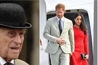 Britský princ Philip a princ Harry s manželkou Meghan.