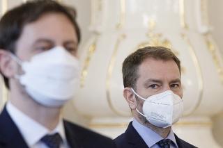 Predseda vlády SR Eduard Heger a minister financií SR Igor Matovič