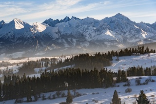 Winter landscape of High Tatra Mountains on the Slovak-Polish border