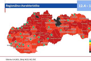 Nové rozdelenie okresov podľa covid automatu platné od 12. apríla.