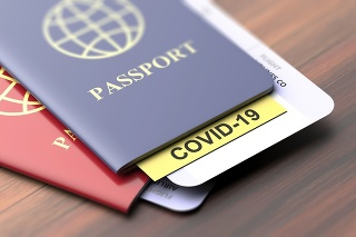 Coronavirus and travel concept. COVID-19 note on a passport. Border control and tourists infected quarantine,Travelling documents on wooden table, closeup view. 3d illustration