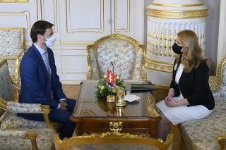 Prezidentka Čaputová prijala Eduarda Hegera v Prezidentskom paláci.