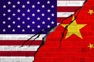 USA and China flag, conflict concept