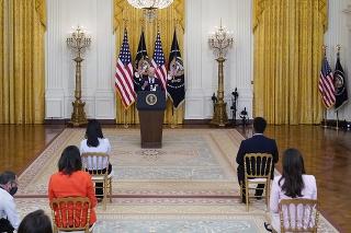 Americký prezident Joe Biden na svojej prvej tlačovej konferencii od nástupu do Bieleho domu.
