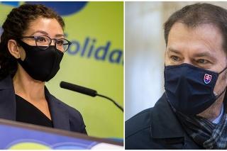 Europoslankyňa Lucia Ďuriš Nicholsonová a premiér SR Igor Matovič.