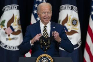 Americký prezident Joe Biden vystupuje s prejavom o úlohe Spojených štátov vo svete.
