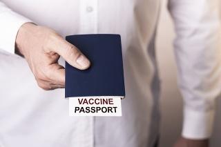 Male hand giving vaccine passport towards.