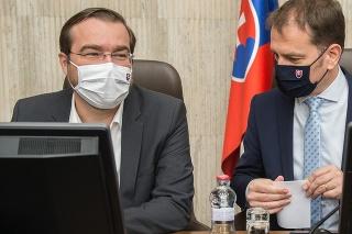 Minister zdravotníctva SR Marek Krajčí a premiér SR Igor Matovič (obaja OĽaNO)