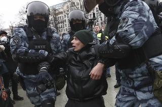 Protest proti zatknutiu Navaľného v Moskve.