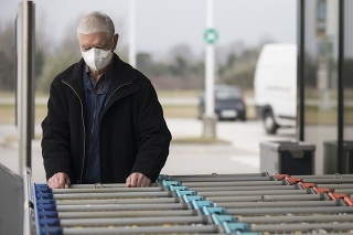 Senior Adult Man Wearing Protective Face Mask When Visiting Supermarket.