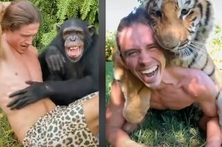 Moderný Tarzan opäť udivuje: Z týchto záberov vám padne sánka! Má neuveriteľný vzťah so zvieratami
