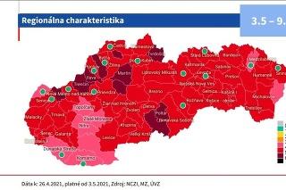 podmienky sú rozdielne podľa farby regiónu.