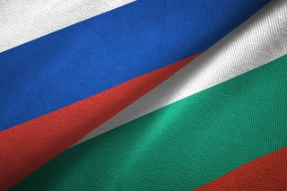 Bulgaria and Russia flag together realtions textile cloth fabric texture