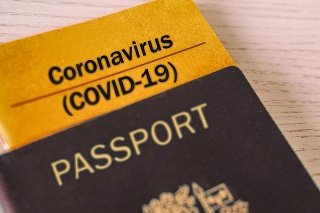 Coronavirus COVID-19 Vaccination proof booklet in passport. Travel ban health certificate Corona screening of travelers tourists. Closure of airports restricted traveling.