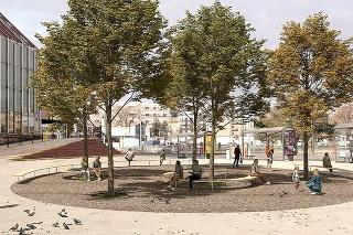 Zrekonštruovanému priestoru bude dominovať päť platanov, ktoré vytvoria tieň.