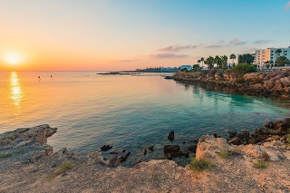 Beautiful beaches of Cyprus at sunset