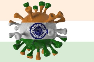 Covid India and indian variant isolated on white background, covid-19 virus with flag.