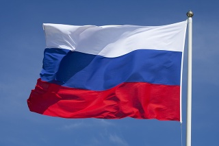 The flag of Russia waving in the wind.