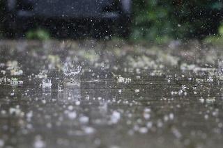 falling rain on the street