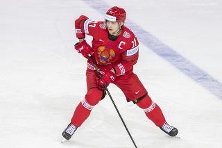 Na snímke Jegor Šarangovič (Bielorusko) v zápase základnej A-skupiny Bielorusko - Slovensko na 84. majstrovstvách sveta v ľadovom hokeji v lotyšskej Rige v piatok 21. mája 2021.