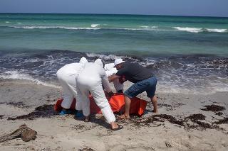 Pracovníci Červeného kríža dávajú mŕtveho človeka o vaku pri líbyjskom meste Zuwara.