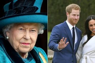 Vľavo kráľovná, vpravo Harry a Meghan.