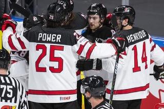 Kanadskí hokejisti sa na MS v Lotyšsku radujú z gólu