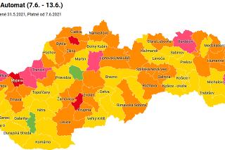 Mapa okresov podľa COVID automatu od 7.6.