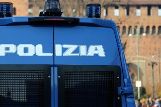 armored truck of the Italian police with text POLIZIA that means POLICE in Italian language