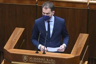 Na snímke minister financií Igor Matovič (OĽaNO) počas zasadnutia parlamentu v Bratislave.