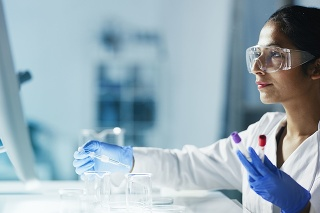 Female medical researcher