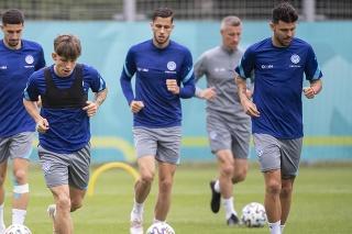 Slovenský tím na tréningu počas EURO 2020