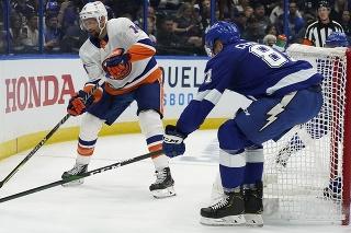 Slovenský obranca v drese Tampy Erik Černák (vpravo) a hokejista New Yorku Islanders Travis Zajac bojujú o puk.