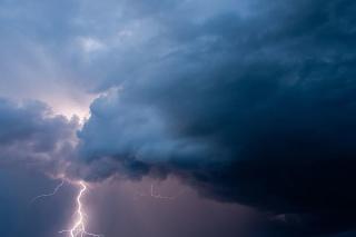 Lightning during a thunderstorm.