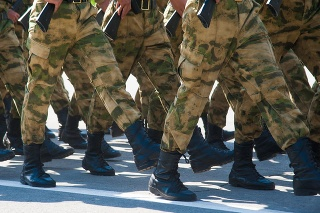 Soldiers in dress uniform marching in the parade