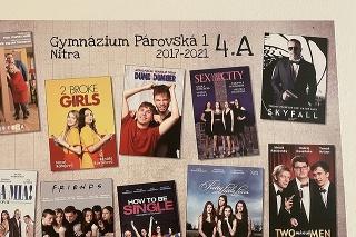Na rozlúčkovej tabuli sú študenti v postavách z obľúbených seriálov a filmov.