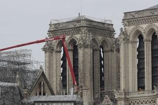 Pracovníci začali odstraňovať lešenie poškodené požiarom z katedrály Notre Dame v Paríži 8. júna 2020.