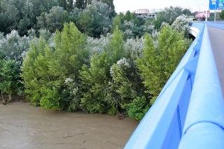 Vysoká hladina rieky Dunaj v Petržalke v Bratislave 19. júla 2021.