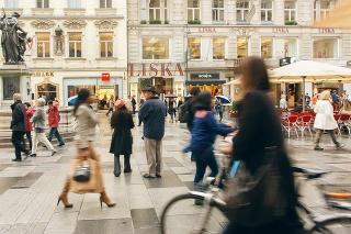 Vienna, Austria - August 24, 2016: Crowd of people rushing on old city street on August 24, 2016. Vienna has population near 1.8 million