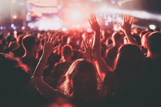 Back view of a crowded audience on a music festival with their arms raised.
