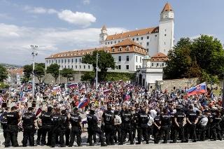 Pred parlamentom pribudlo protestujúcich, ale aj policajtov.